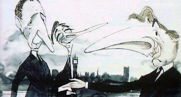 Gerald Scarfe's caricatures of (l to r) Sir Humphrey Appleby, Bernard Woolley and Jim Hacker
