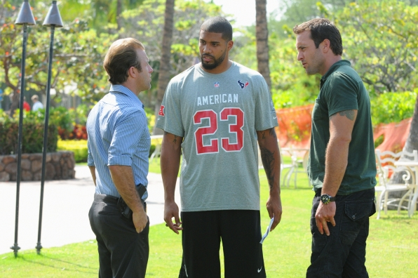 Steve and Danny question real-life Houston Texans running back Arian Foster (Image: CBS)