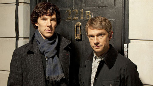 Benedict Cumberbatch and Martin Freeman as Holmes and Watson (Image: BBC)