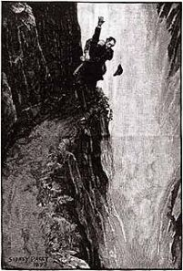 Holmes and Moriarty fight over the Reichenbach Falls in The Final Problem (Illustration: Sidney Paget)