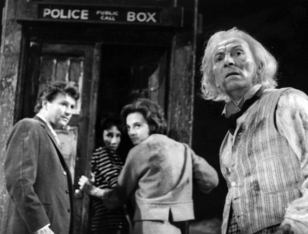 The original TARDIS crew in An Unearthly Child (i to r): Ian, Susan, Barbara and William Hartnell's Doctor