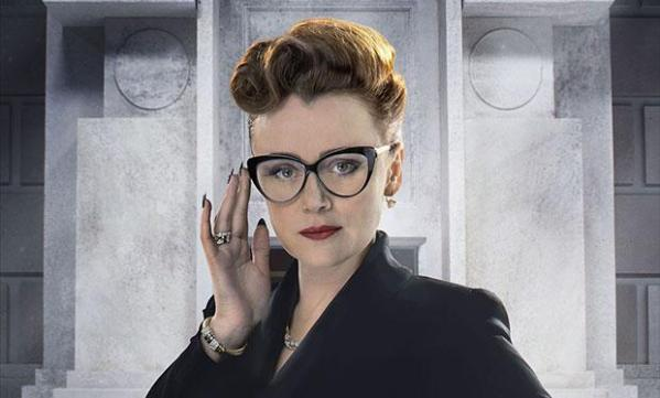 Ms Delphox (Keeley Hawes) has a close relationship with the bank's reclusive director (Image: BBC)