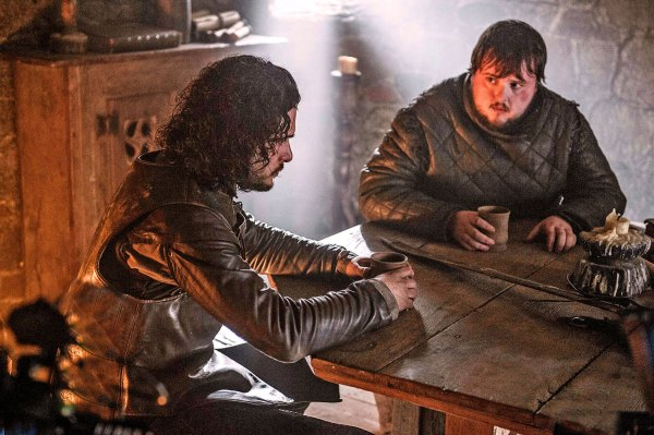 Jon discusses Sam's future (Image: HBO)